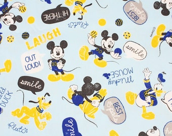 "Disney Mickey, Minnie Mouse Character Fabric made in Japan FQ 45cm by 53cm or 18"" by 21"""