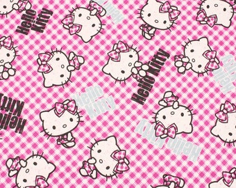 "Hello Kitty Character Oxford Fabric made in Japan, 45cm by 53cm or 18"" by 21"""