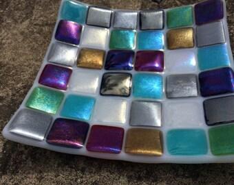 Iridescent squares fused glass bowl