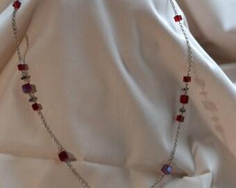 Vintage necklace, Vintage earrings, Vintage glass necklace, Vintage crystal necklace and earrings