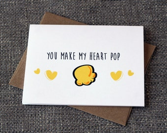 You Make My Heart Pop Cute Popcorn Greeting Card