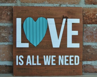 Love is All We Need-Stacked Board Sign,Shabby Rustic Stacked Sign