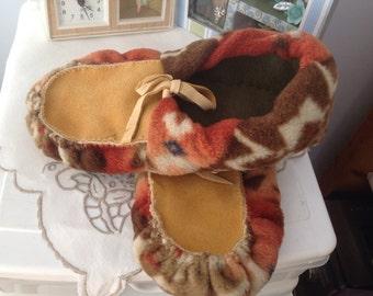Leather Moccasins deer hide upper and sole enforced. Womens size M Warm fleece handmade / sewn deer hide soft sole