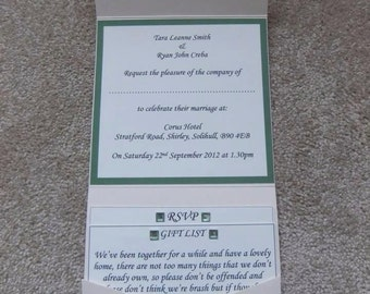 Wedding invitation - Handcrafted Pocketfolded style - MADE TO ORDER