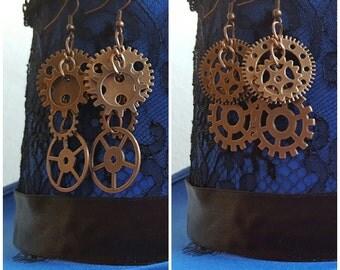 Steampunk Earrings, Cluster Earrings, Copper Gears.