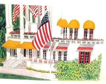 Original watercolor - GRAND HOTEL - Mackinac Island, Michigan