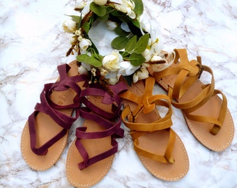 FOLKKE Sandals Boho Arizona Emerald natural Granada leather Gladiator sandals