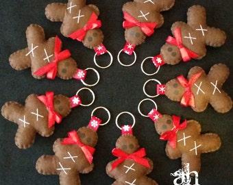 Felt Gingerbread Man Keychain * Felt Key Ring
