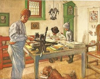 Vintage 1976 Carl Larsson Original Art Print *Falun and The Studio* Beloved Swedish Artist. Printery. Lovely, Colorful Home Decor