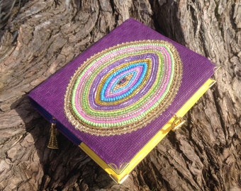 Leather binder/leather violet diary/leather planner/hand embroidery a bead/leather cover/handmade