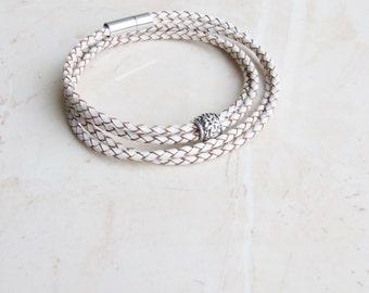 White leather cuff wrap bracelet, Braided genuine leather bracelet, Womens cuff bracelet, Flower bracelet, Summer pastel bracelet
