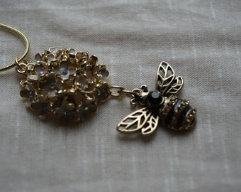 Gold and Black Bumble Bee to Flower Necklace