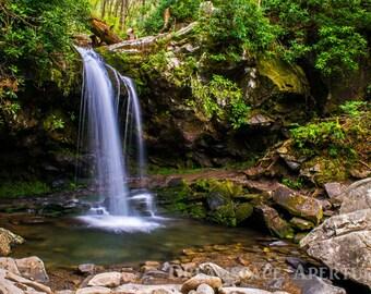 Waterfall Photography, Grotto Falls, Great Smoky Mountains, Waterfall Photo, Waterfall Print, Travel, Home Decor, Brook, Cascade, Stream Art