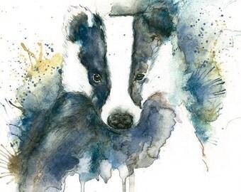 Badger art print Badger Illustration Badger watercolour Badger painting print Blue Badger watercolour Wildlife badger print Badger splash