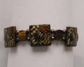 BR31 - Unique Decorative Handmade Brown and Beige Rustic Look Bracelet
