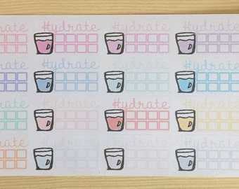 Planner Sticker (functional)- Hydrate: for the Happy Planner, EC, Filofax, Kikki. K and more.
