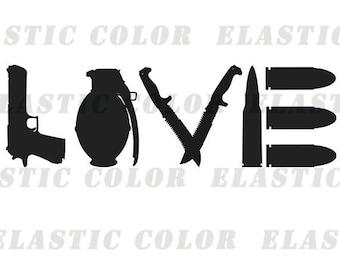 Gun svg clipart  - love text with gun clip art digital download svg, png, dxf, eps