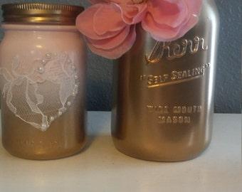 gold and pink mason jar set