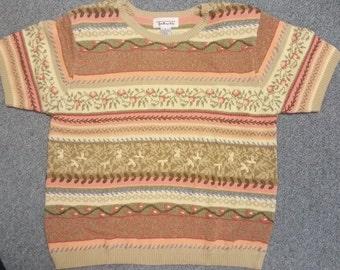 Talbots short sleeve floral fine- spun sweater  size large