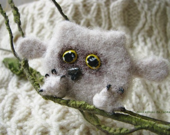 Handmade Brooch Owl Made to Order Needle Felting Owl Wool Jewelry Needle Felting Brooch Owl Felted Cutest Gift Handmade Brooch Owl Jewelry