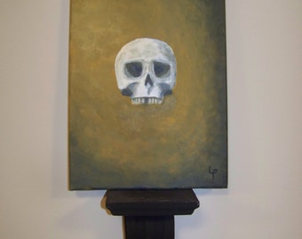 skull painting handmade cabinet curiosity painting 24 X 33 cm