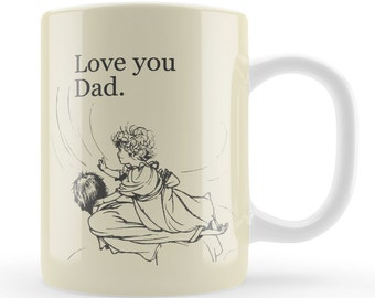 Fathers Day Mug, Vintage art Dad gift, Love you dad mug present, Unique dad gift for father's day, retro art style gift,