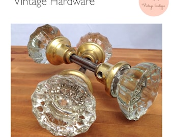 4 Vintage Sparkling Fluted Doorknobs Brass Base Vintage Hardware Antique Door Decor