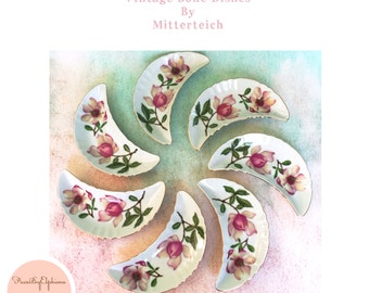 Vintage China Mitterteich Bavaria Set 7 Floral Bone Dish Vintage Crescent Moon Plates / Serving Dish / Floral China