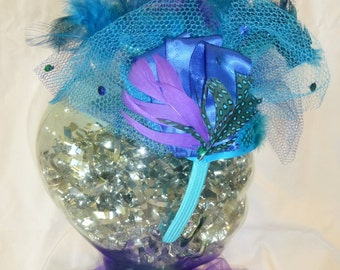Turquoise and purple Mardi Gras fascinator headband
