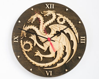 House Targaryen clock, Game of thrones, Emblem of Targaryen, GoT, Dragon decor, Targaryen