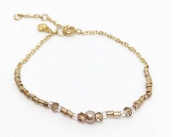 RELEVE | Half-gold chain, half-beaded dainty rose gold bracelet