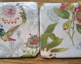 Hummingbird/ passionflower coasters