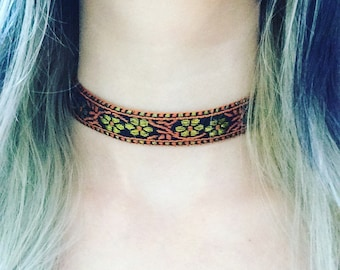 Gold floral embroidered choker necklace, gold flower choker, autumn colours, gold necklace