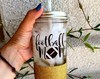 Football Mom, Football, Football Cup, Football Tumbler, Sports Mom, Sports Cup, Water Bottle, Glitter Mason Jar,