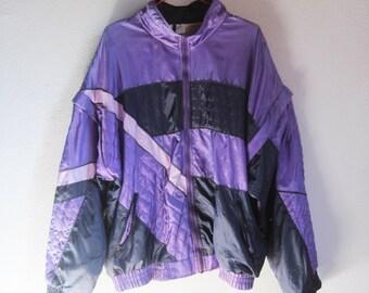 VINTAGE 90s Kitsch Colorful Violet Zipper Jacket Detachable Sleeves - Size L