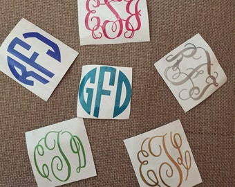 Vinyl monogram decal for phone, yeti, glasses/cups, computer cases, ect.