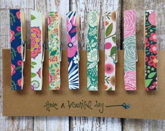 Vintage Wallpaper Inspired Clothespins/Decorative Clothespins/Memo Clips/Pegs/Chip Clips/Message Board Clips/Clothes Pins/Set of 8