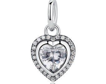 Authentic 925 Sterling Silver Sparkling Love Heart, Clear CZ Pendant Dangle Charm Beads Fits European Pandora Bracelet and Necklace
