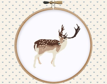 Deer cross stitch pattern pdf - deer embroidery design - animal cross stitch - forest cross stitch pattern - instant download - modern