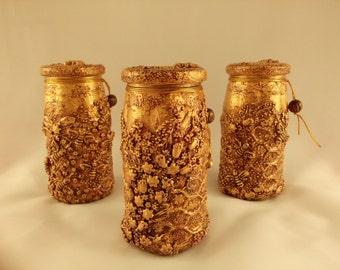 Set of three jars of honey, Jars for honey, Банки для мёда, Decorating bank, Bank, home decor, glass, art, decorative art, hand made