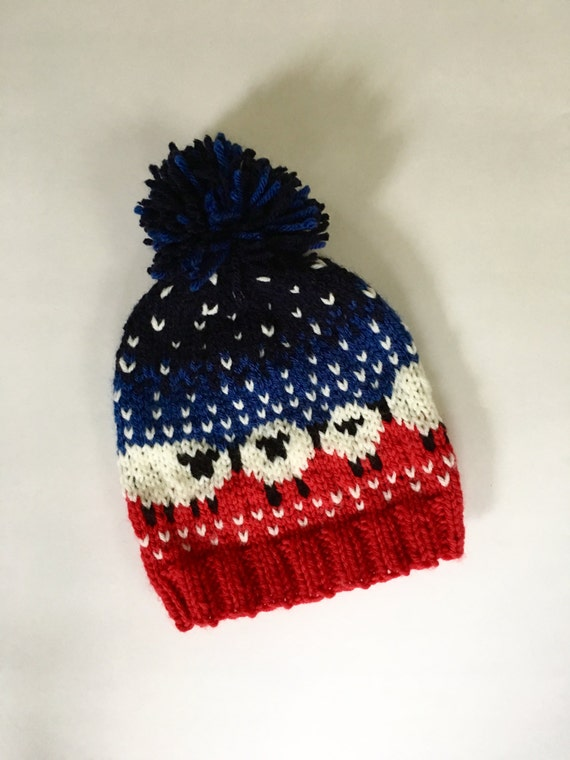 KIDS BAA-BLE Hat Adorable fair isle sheep pom pom hat Red