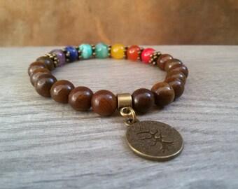 7 Chakra bracelet Spiritual Wrist Mala Reiki jewelry Chakra balancing bracelet Sandalwood jewelry Energy bracelet Tree of life Yoga Gift