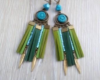 long Boho earrings Suede fringe earrings Ethno dangle Bohemian Suede drop earrings Ethnic Tassel Blue Green Earrings Summer Bohemian jewelry