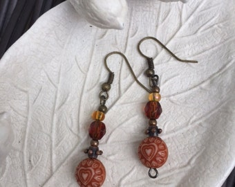 Vintage Style Hearts and Glass Bead Dangle Earrings
