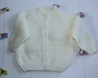 Cream Bella Baby Tizz Hand-knitted Cardigan