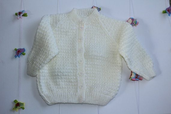 Cream Bella Baby Tizz Hand Knitted Cardigan