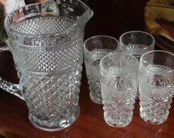 Vintage cut glass 2qt Pitcher and set of four glasses