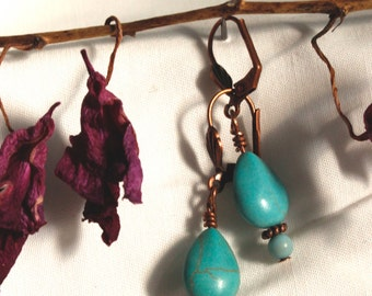 Turquoise Stone and Copper Plated Handmade Earrings