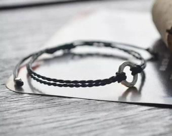 Sterling silver Karma friendship bracelet boho bohemian bracelet  waxed thread braclet round karma bracelet sterling silver charm bracelet