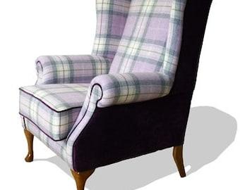 Highlander Queen Anne Wing Back Chair Upholstered in Modena Aubergine & Kintyre Lavender